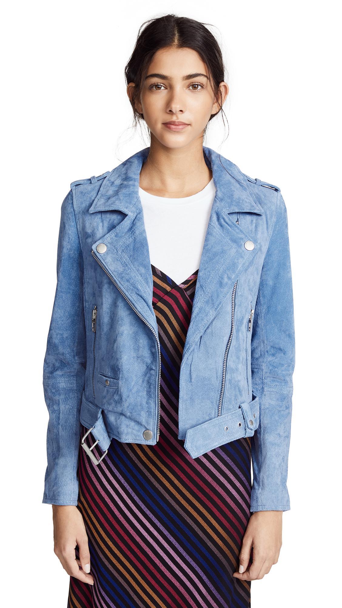 Blank Denim Suede Moto Jacket In Hydrangea