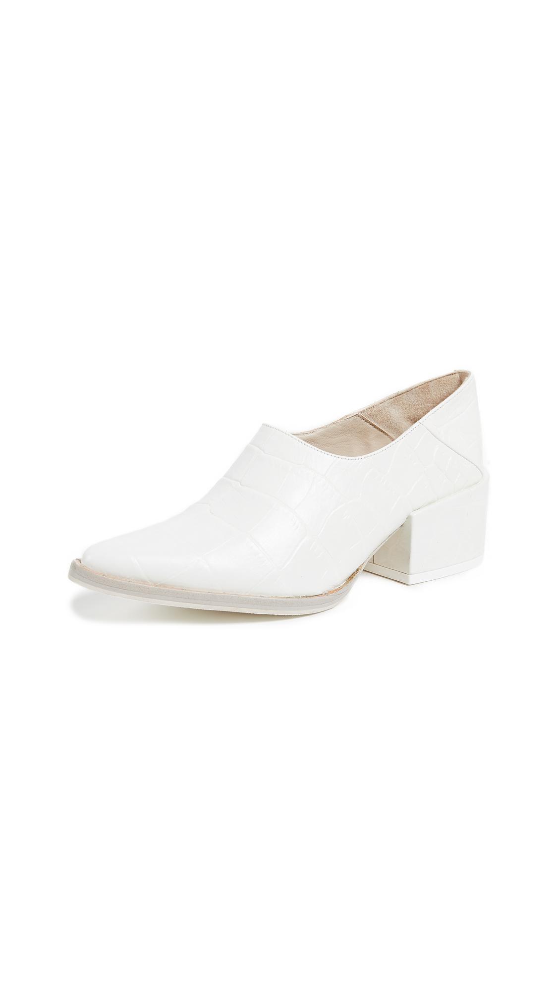 Freda Salvador Crescent Block Heel Booties In White