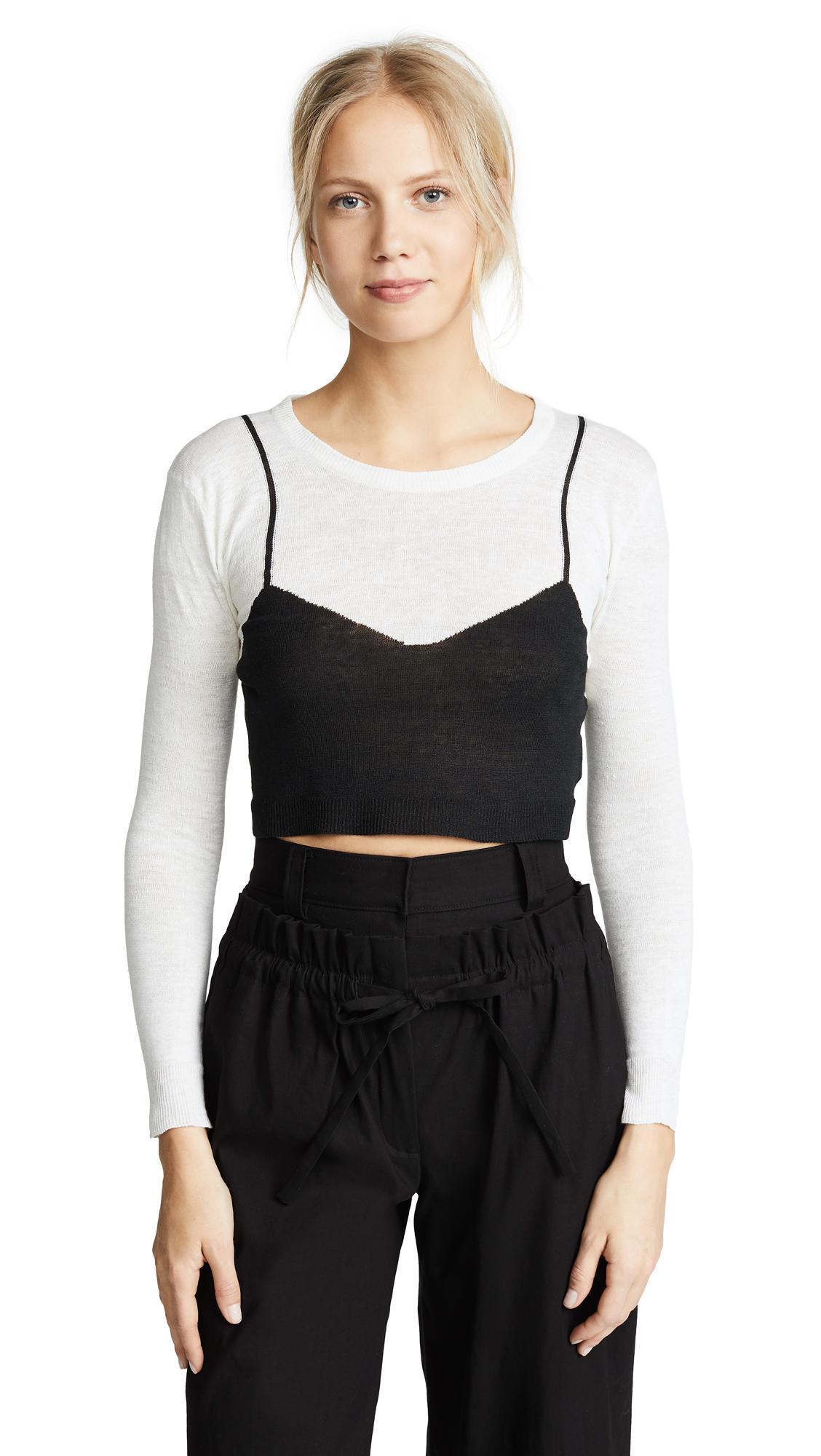 Isa Arfen Cropped Sweater In White/black