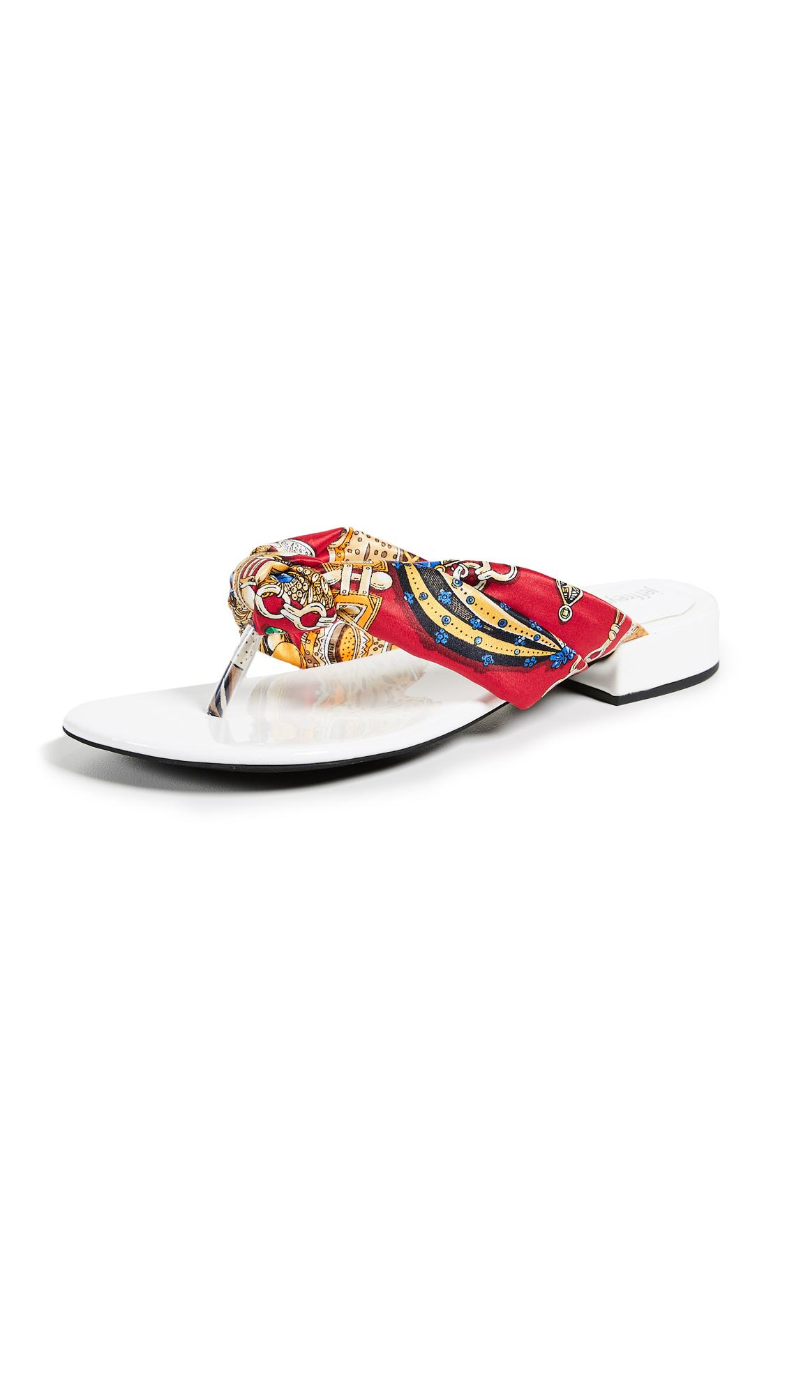 Jeffrey Campbell Tampa Chic Flop Flops In White/red