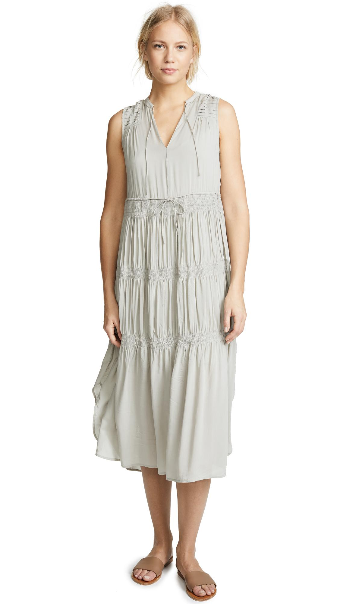 James Perse Pleated Dress In Solitaire