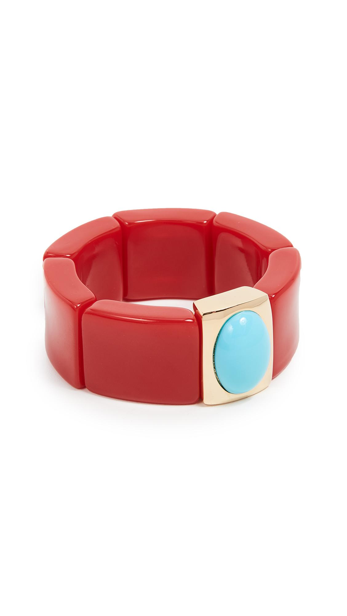 Kenneth Jay Lane Center Stretch Bracelet In Red/turquoise