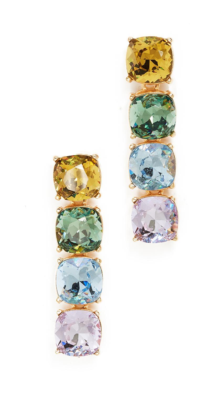Kenneth Jay Lane Pastel Crystal Stone Drop Earrings In Gold/multi Pastel