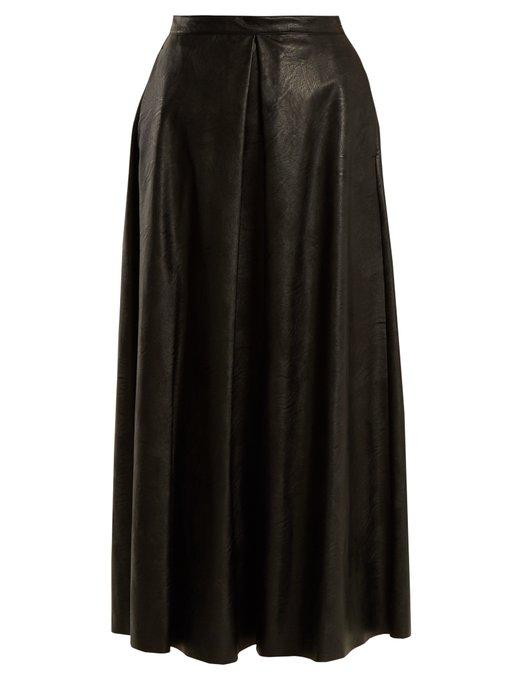 Mm6 Maison Margiela Pleated Faux-leather Skirt In Black