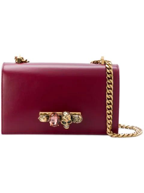 Alexander Mcqueen Jewelled Satchel Embellished Leather Shoulder Bag In 5540 Red Gold