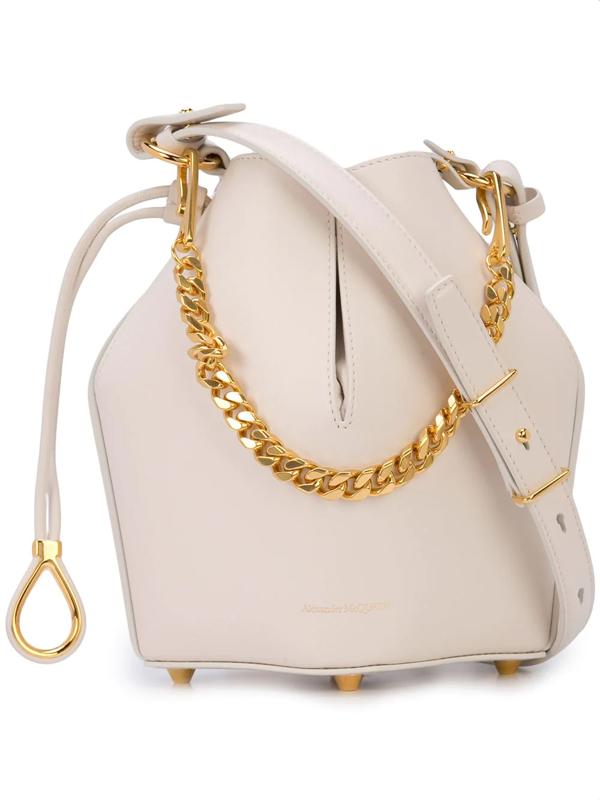 Alexander Mcqueen The Bucket Shiny Calf Shoulder Bag - Golden Hardware In White