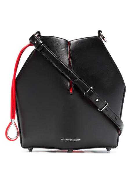 Alexander Mcqueen The Bucket Shiny Calf Shoulder Bag - Silvertone Hardware In Black
