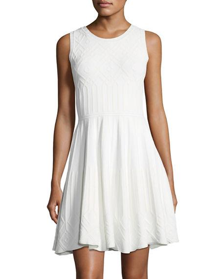 Milly Textured Mosaic Flared Mini Dress In White