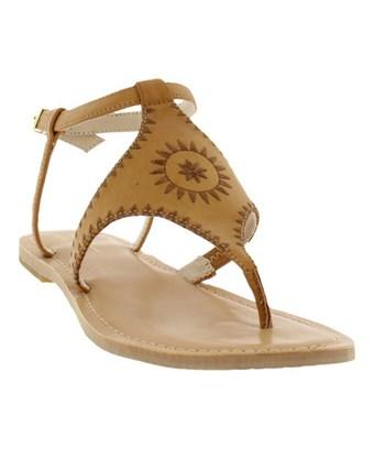 Nicole Miller Women's   Pyramid Thong Sandal In Tan Burnished Synthetic