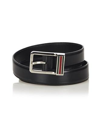 Gucci Pre-owned: Web Leather Belt In Black