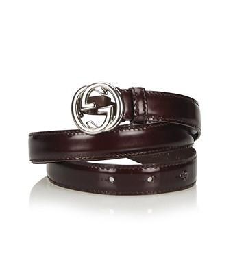 Gucci Pre-owned: Interlocking Gg Belt In Brown X Dark Brown X Silver