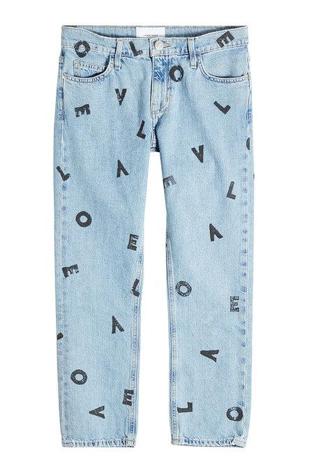 Current Elliott The Cropped Straight Love Letter Jeans In Blue