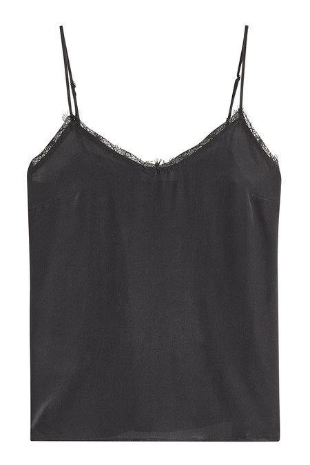 Anine Bing Silk Camisole With Lace In Black