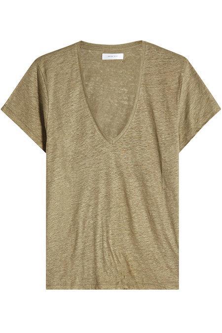 Anine Bing Linen V-neck T-shirt In Green
