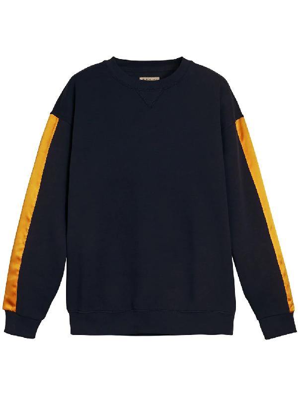 Burberry Satin Stripe Cotton Blend Sweatshirt In Blue