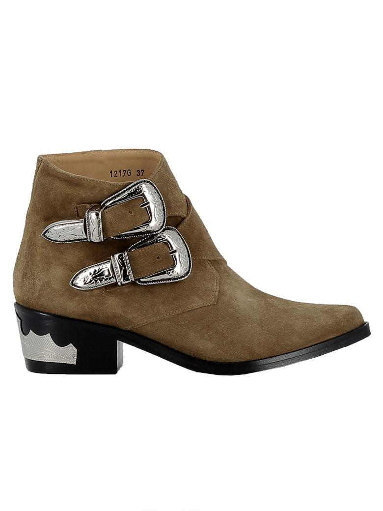 Toga Kakhi Suede Ankle Boots In Khaki
