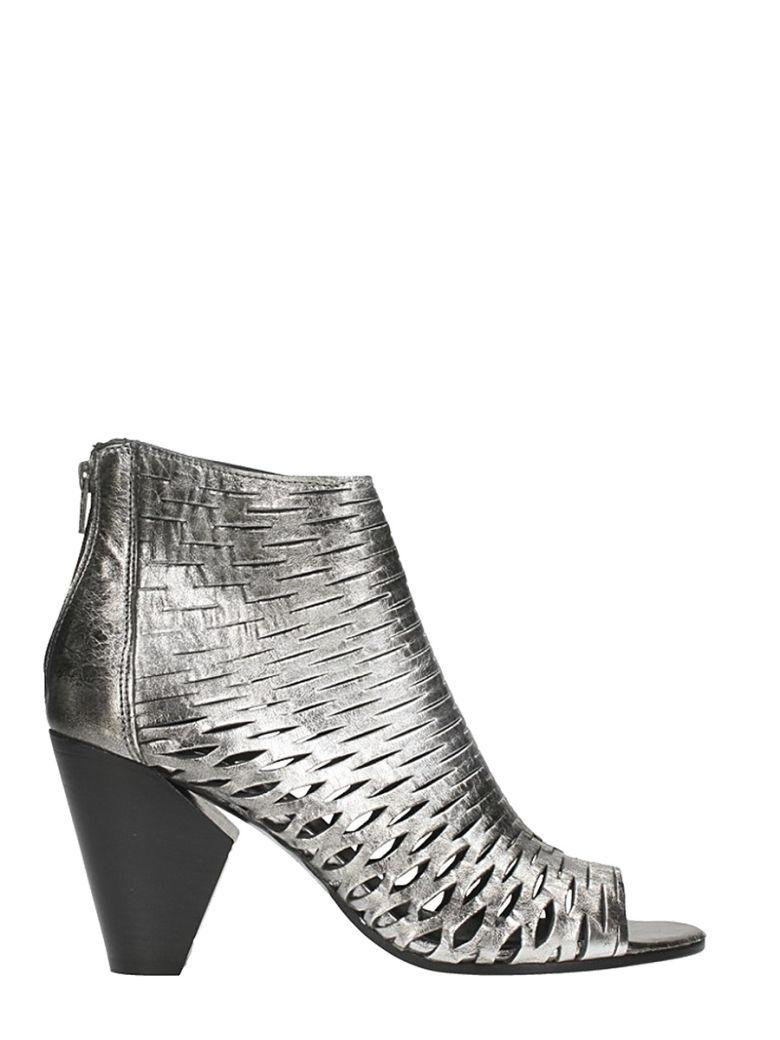 Strategia Open Toe Spritz Silver Leather Ankle Boots