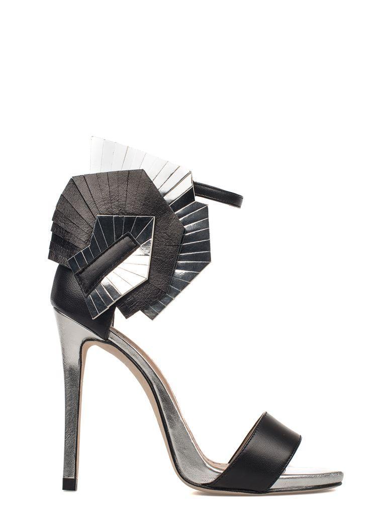 Marc Ellis Silver/black Nappa Leather Heeled Sandal In Gray - Black