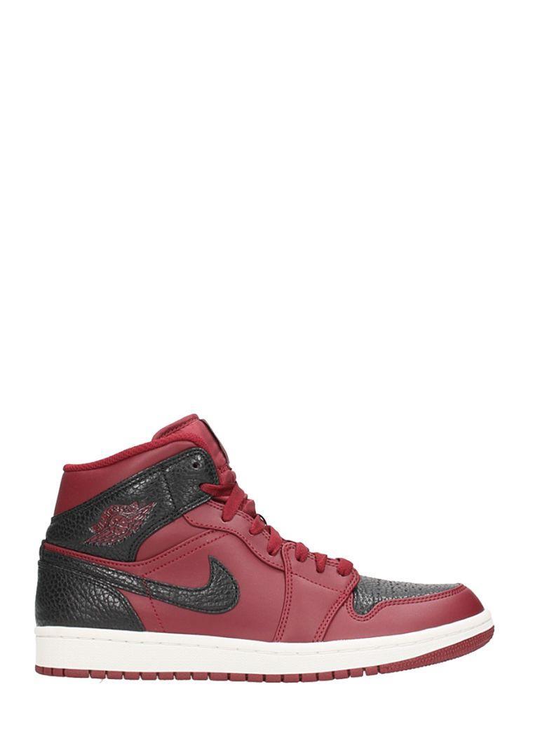 Nike Air Jordan 1 Mid Bordeaux Leather Sneakers
