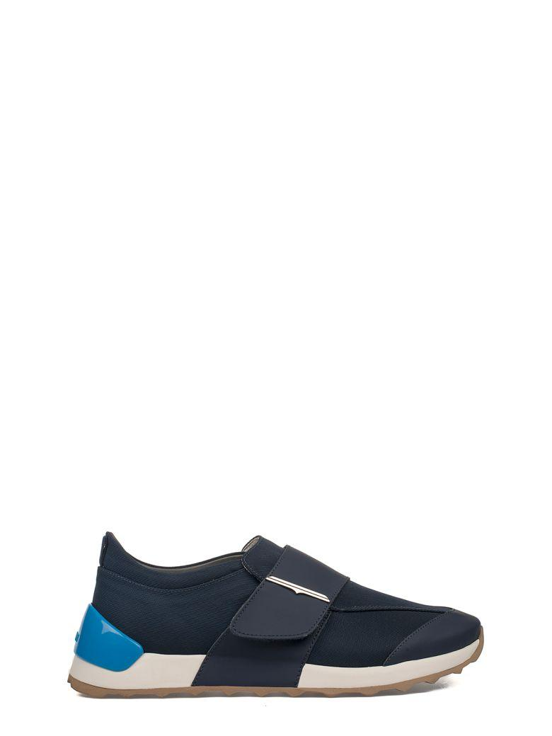 Alberto Guardiani Blue Onesoul Leather Slip On Sneakers