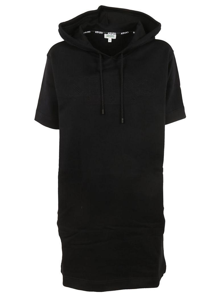 Kenzo Logo Hoodie Dress In Noir