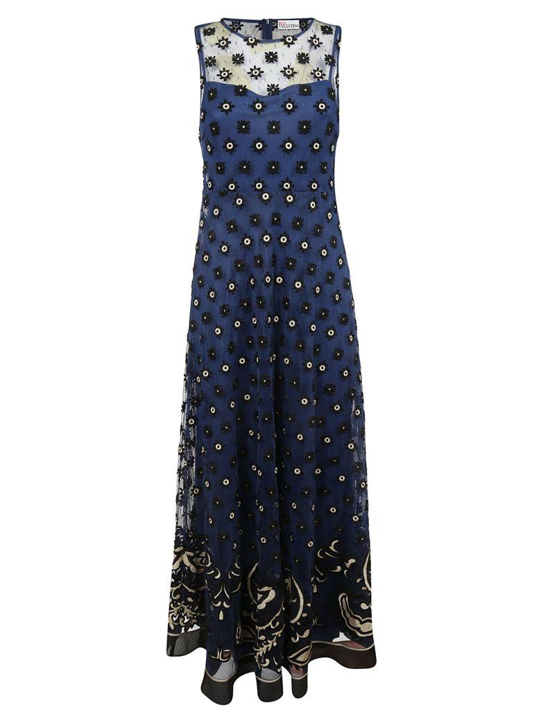 Red Valentino Bandana Embroidered Long Dress In Akblu