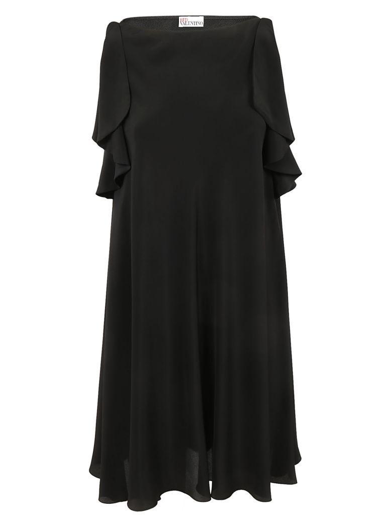 Red Valentino Ruffle Sleeve Dress In 0no.nero