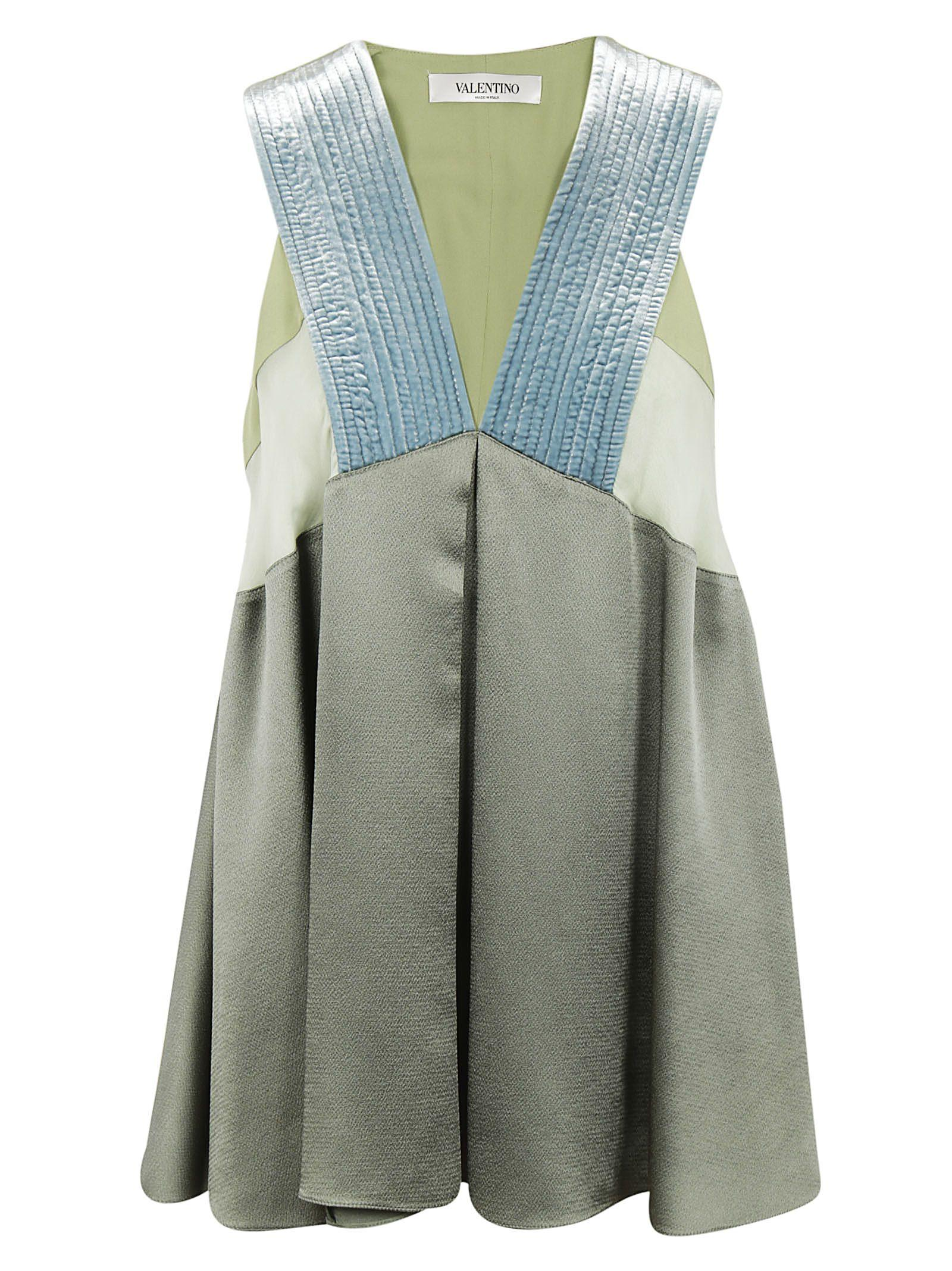 Valentino Deep V Neck Dress In Grey