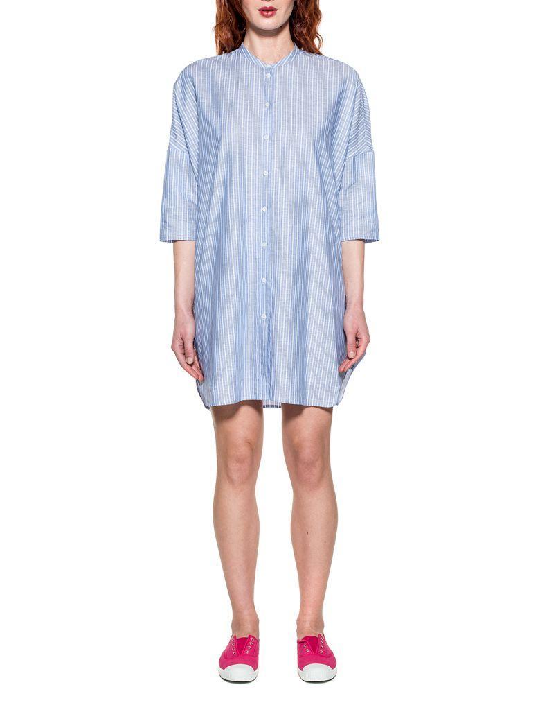 Bagutta Light Blue/white Striped Linen Dress In Basic