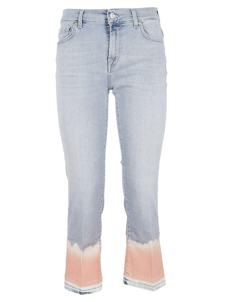 7 For All Mankind Cropped Unrolle Jeans In Coral