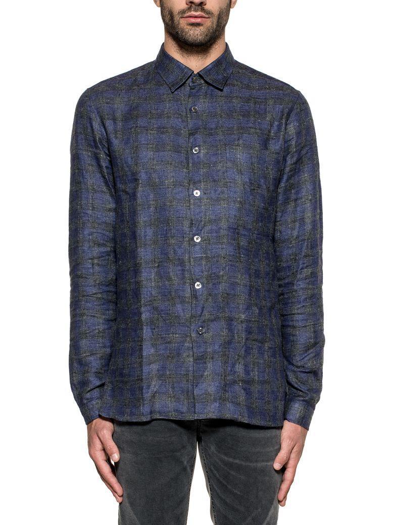 Xacus Elettric Blue/gray Checked Shirt In Basic