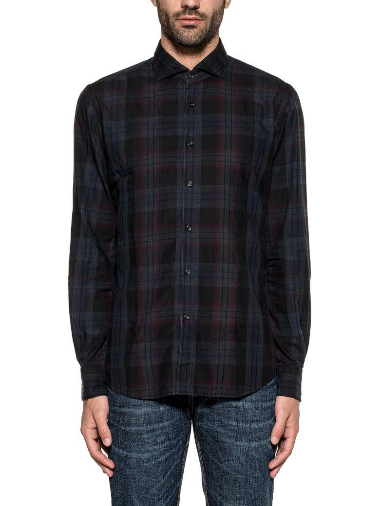 Xacus Blue/black/purple Checked Shirt In Basic