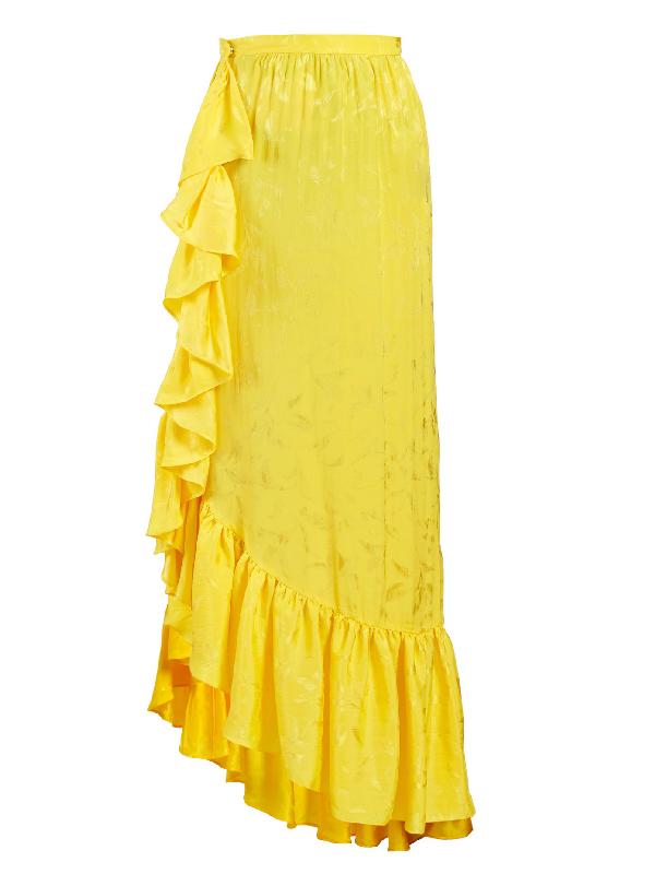 Attico Asymmetric Jacquard Ruffle-skirt In Yellow