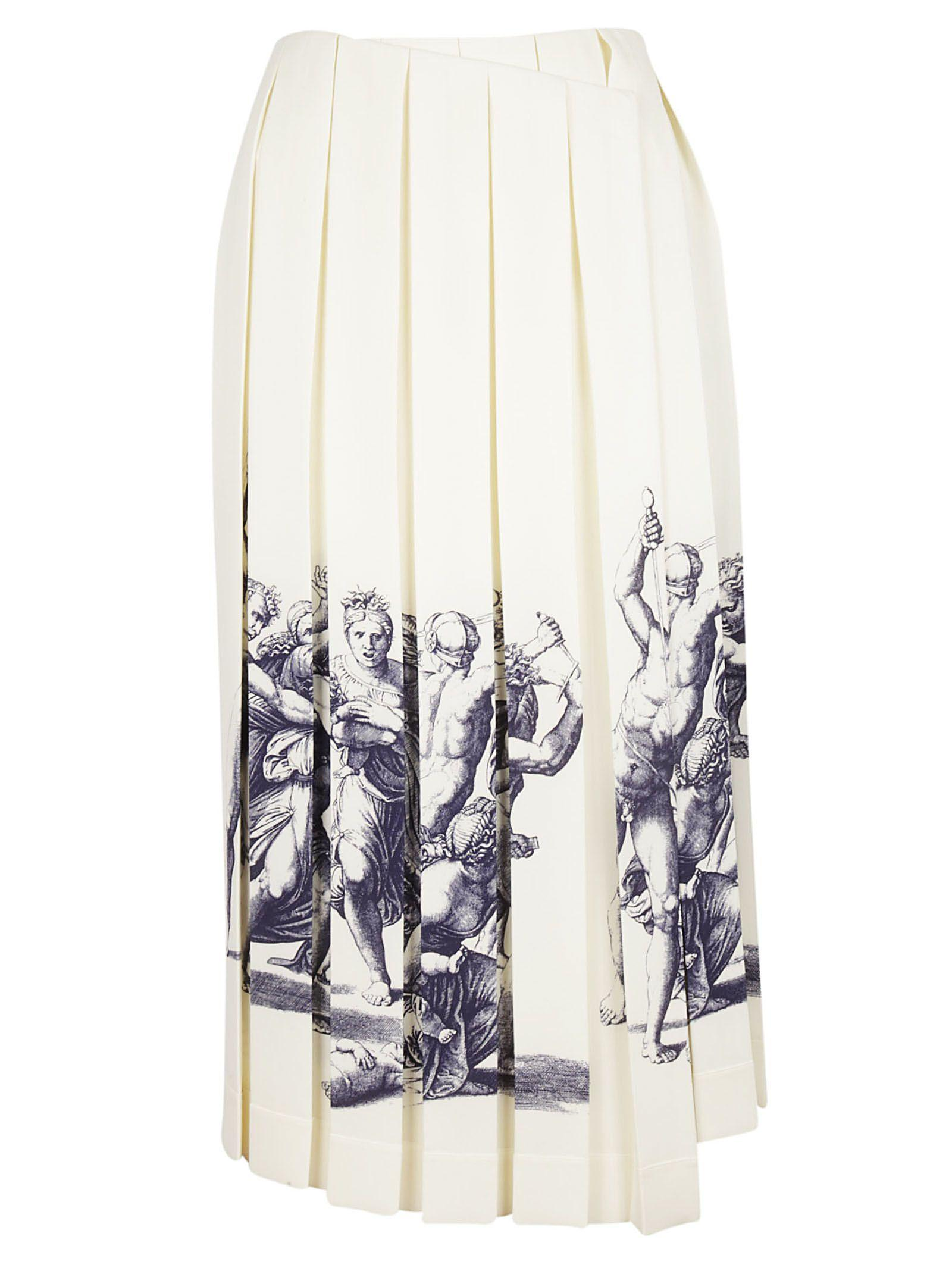 Celine CÉline Wrap Pleated Skirt In White