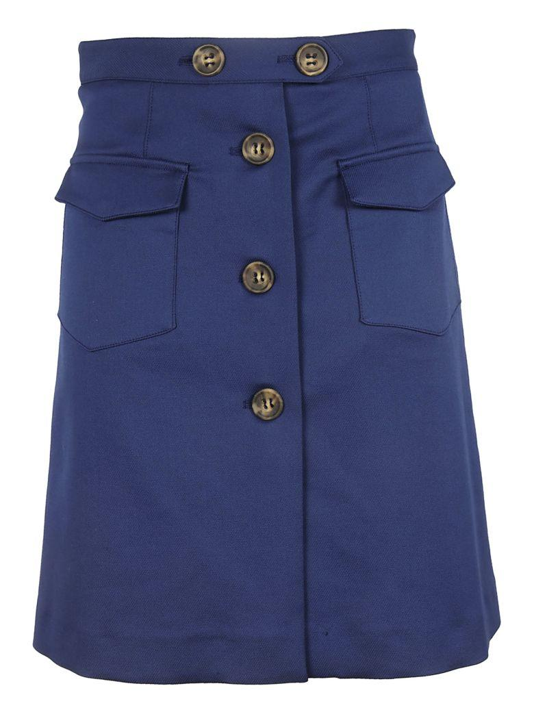 Red Valentino Button Skirt In Blue