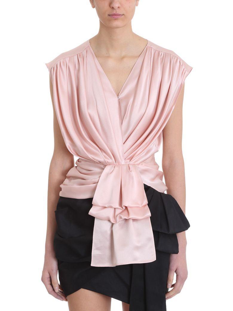 Magda Butrym Durres Pink Silk Top In Rose-pink
