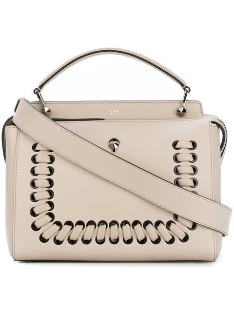 7ae527a2bee3 Fendi Dotcom Whipstitched Leather Bag In Neutrals
