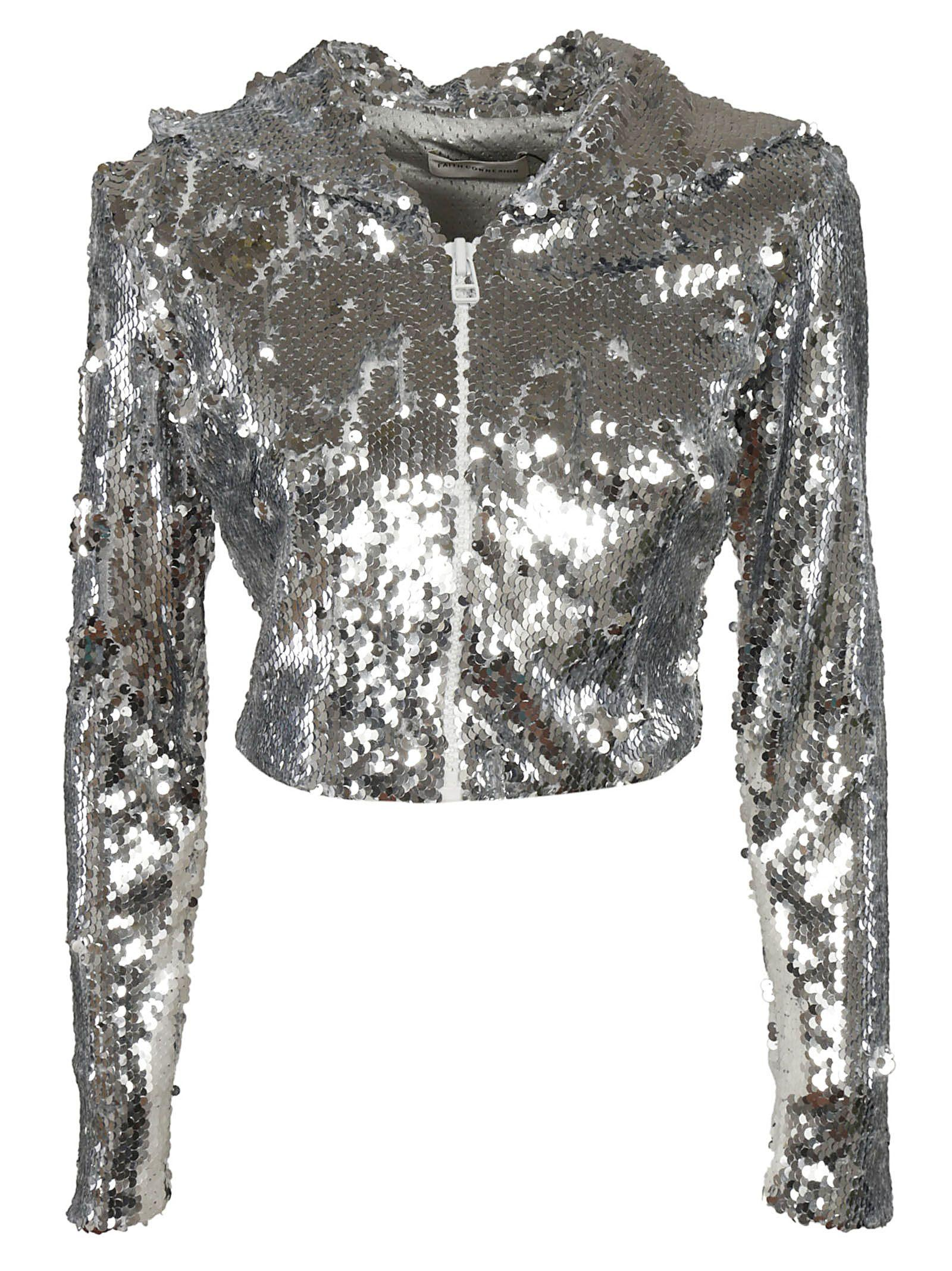 Faith Connexion Cropped Sequin Jacket In Silver