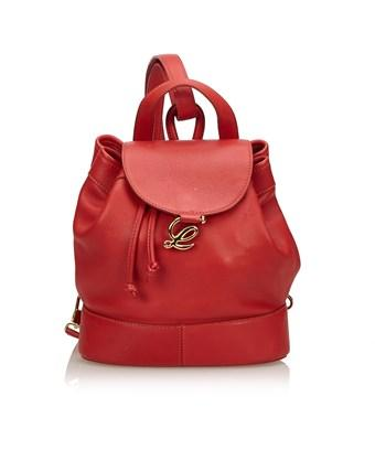 Loewe Pre-owned: Leather Drawstring Backpack In Red