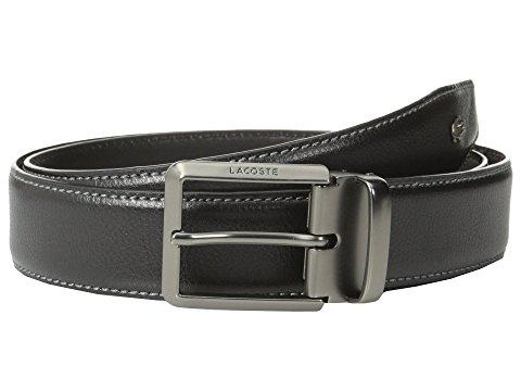 Lacoste Premium Leather Metal Croc Belt, Black
