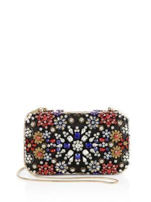 Alice And Olivia Crystal-embellished Chain Clutch In Black-multi