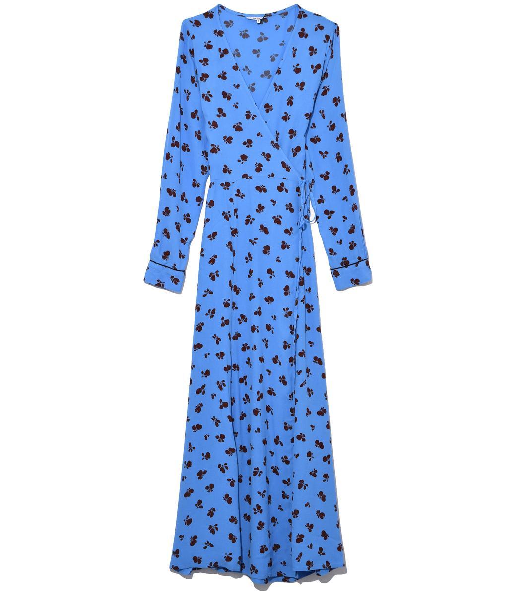 Ganni Roseburg Crepe Wrap Dress In Marina In Blue