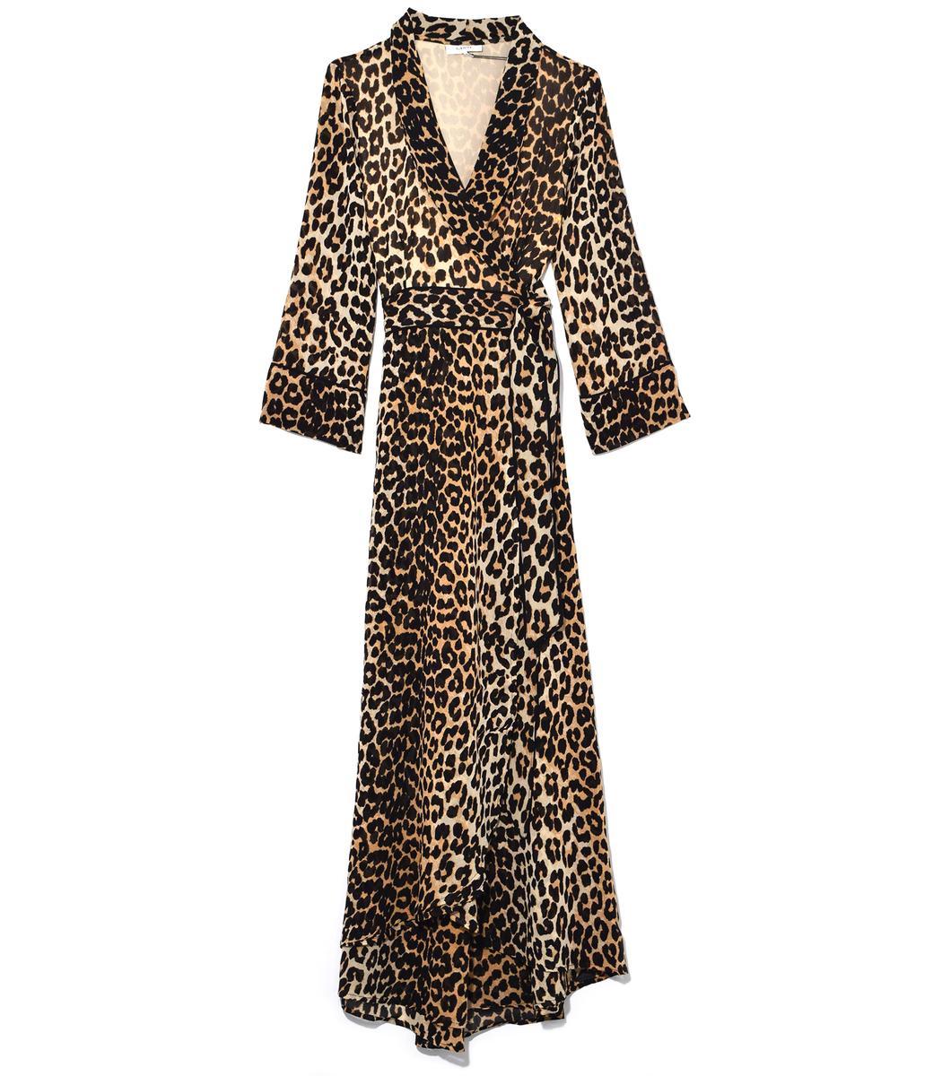 Ganni Fairfax Georgette Wrap Dress In Leopard In Print
