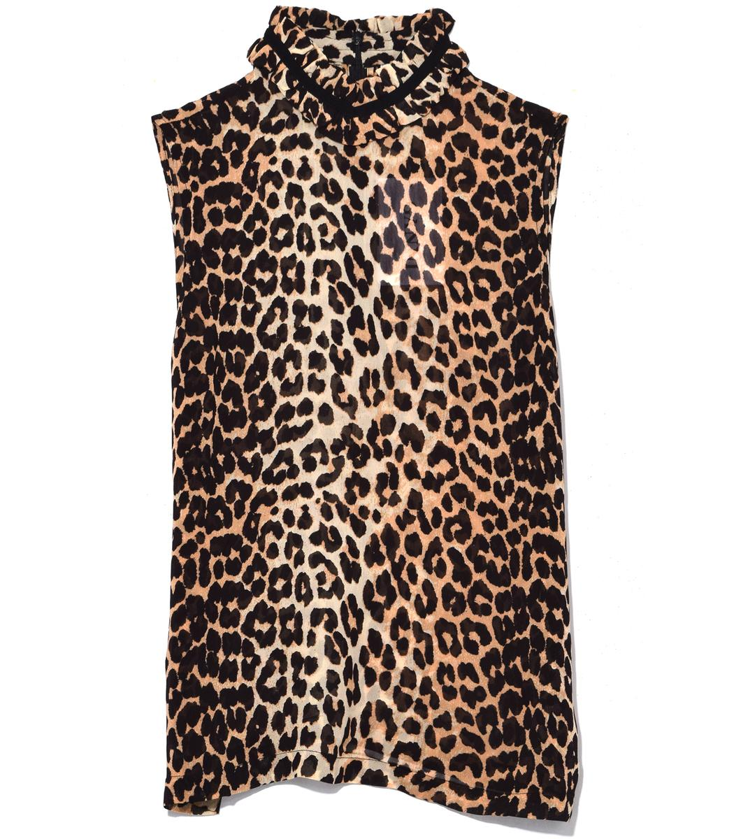 Ganni Fairfax Georgette Top In Leopard In Print