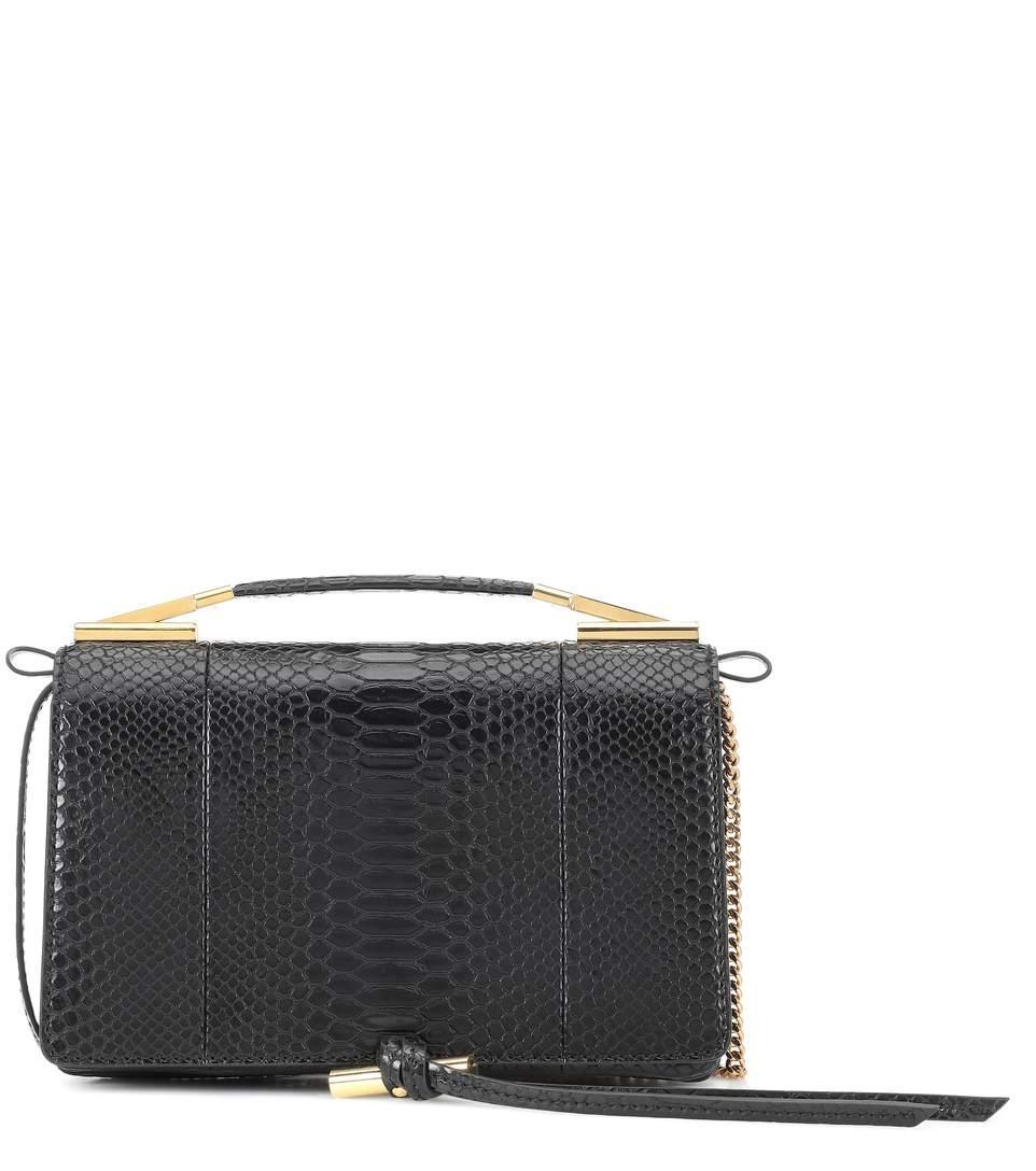 Stella Mccartney Flo Small Embossed Shoulder Bag In Black