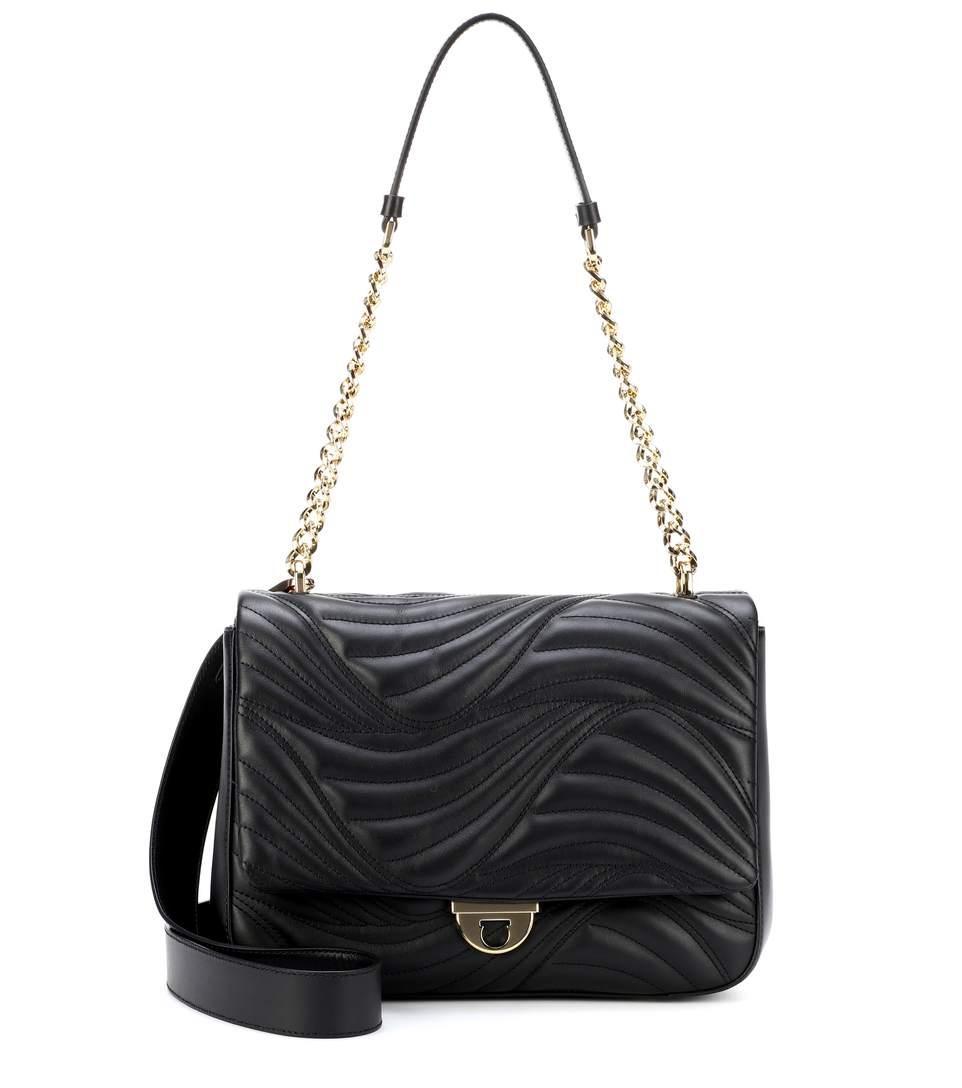 Salvatore Ferragamo MatelassÉ Leather Shoulder Bag In Black