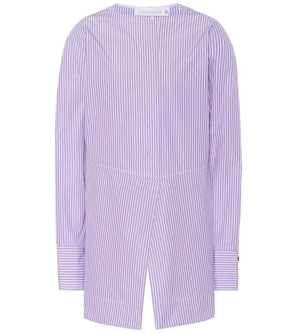 Victoria Beckham Striped Cotton Blouse In Purple