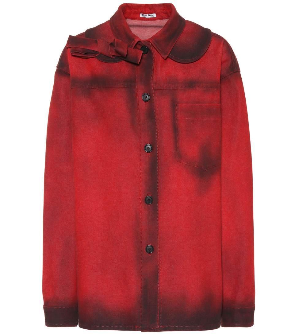 Miu Miu Oversized Denim Jacket In Red