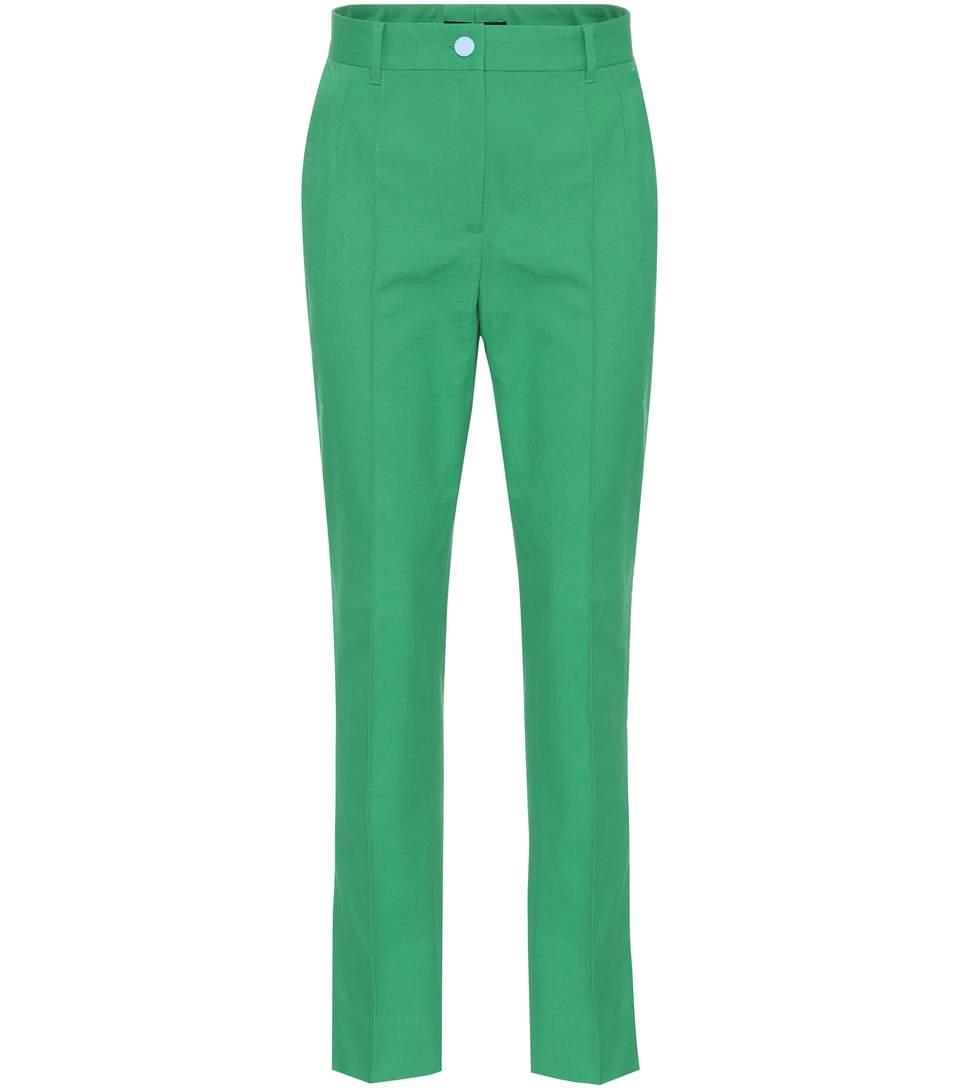Dolce & Gabbana Cropped Cotton-blend Trousers In Verde Lrillaete