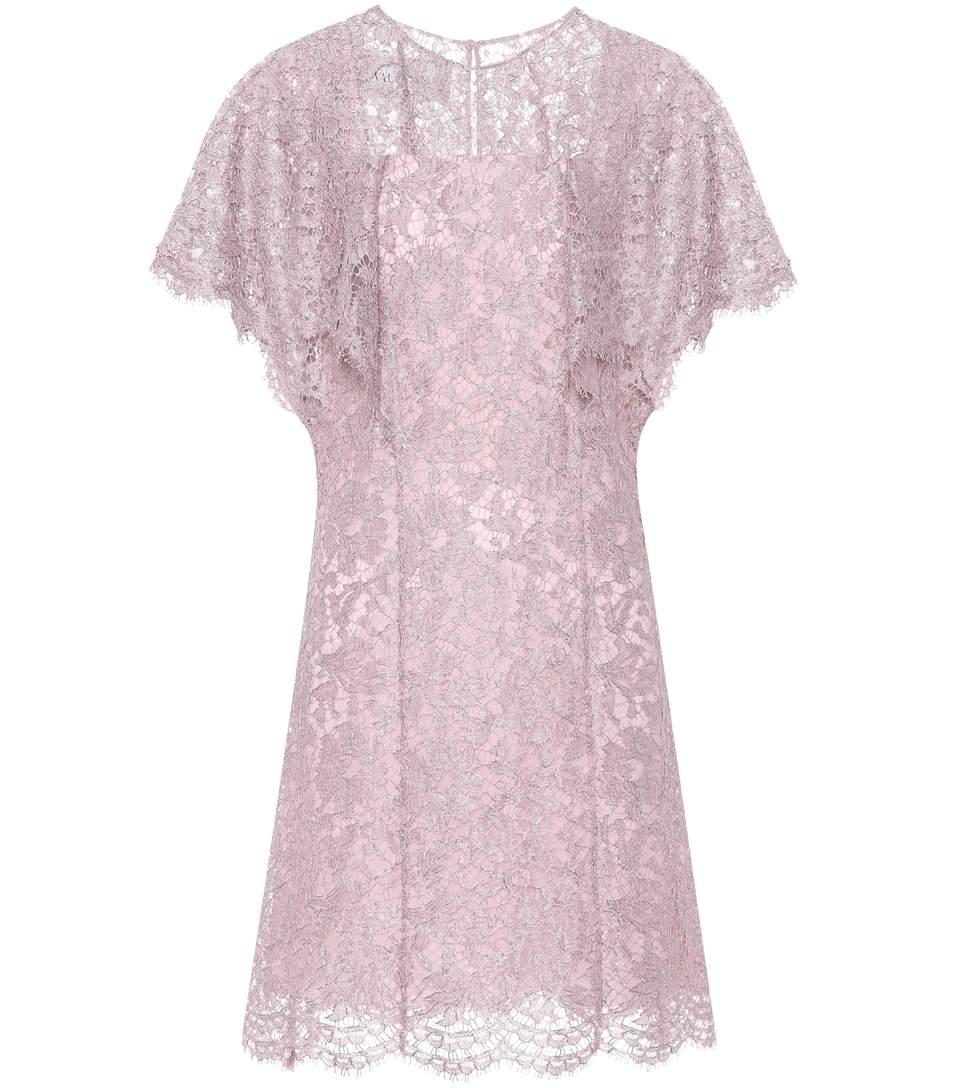 Valentino Silk Lace Dress In Purple